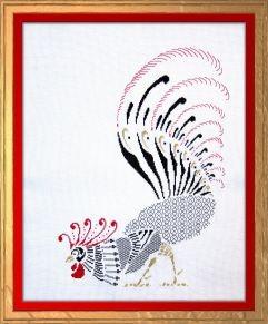 blackwork rooster