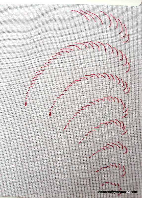 backstitch rooster feathers